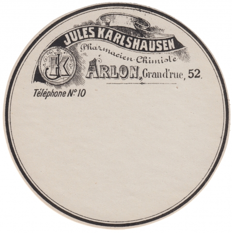 Vintage Apothecary Label Black Ribbon