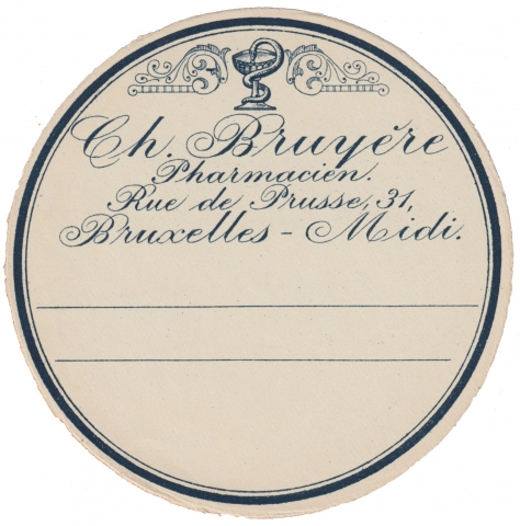 Vintage Apothecary Label Blue Circle