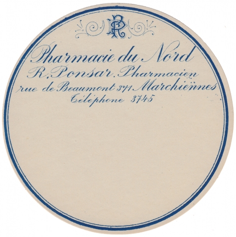 Round Pharmacie label in blue
