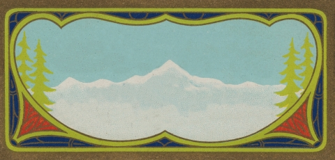Vintage Label Snow Covered Mountains