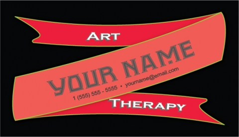 Red Ribbon Banner Business Card
