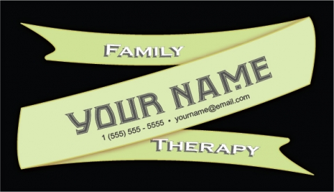 Green Ribbon Banner Business Card Template